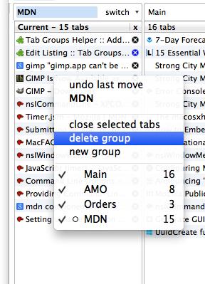 Tab Groups Helper Screenshot
