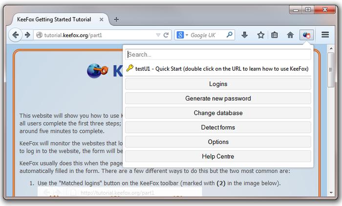 KeeFox Screenshot