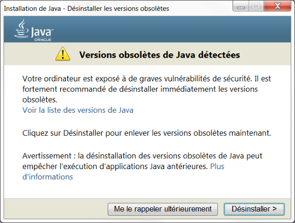 Uninstalling Oracle Java
