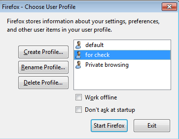 Select the profile of private browsing