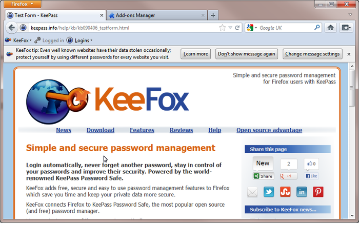 KeeFox Screenshot