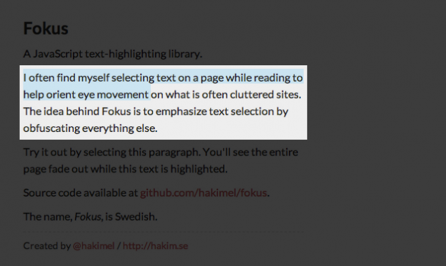 How to highlight the desired piece of text on a web page using Fokus Plugin