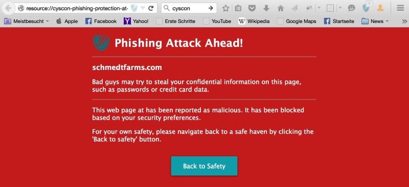 Phishing attack blocked