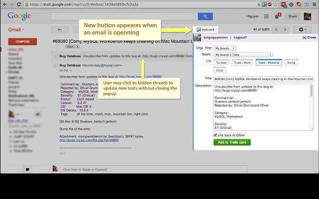 GMail to Trello Screenshot