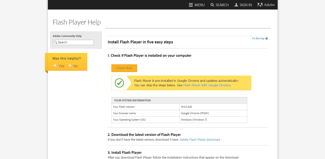 Adobe Flash Player test page - Download Current Version Plugins
