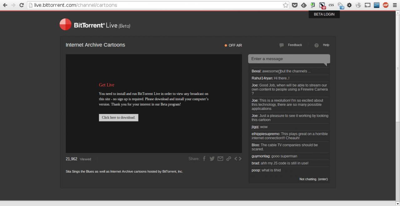 BitTorrent Live Stream can be viewed in the web, but that requires a plug-in