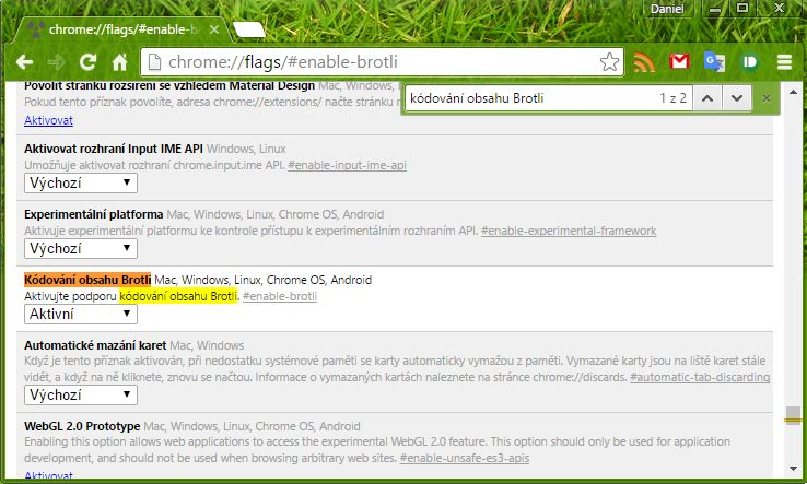 Activate Brotli we have versions Dev and Beta Google Chrome