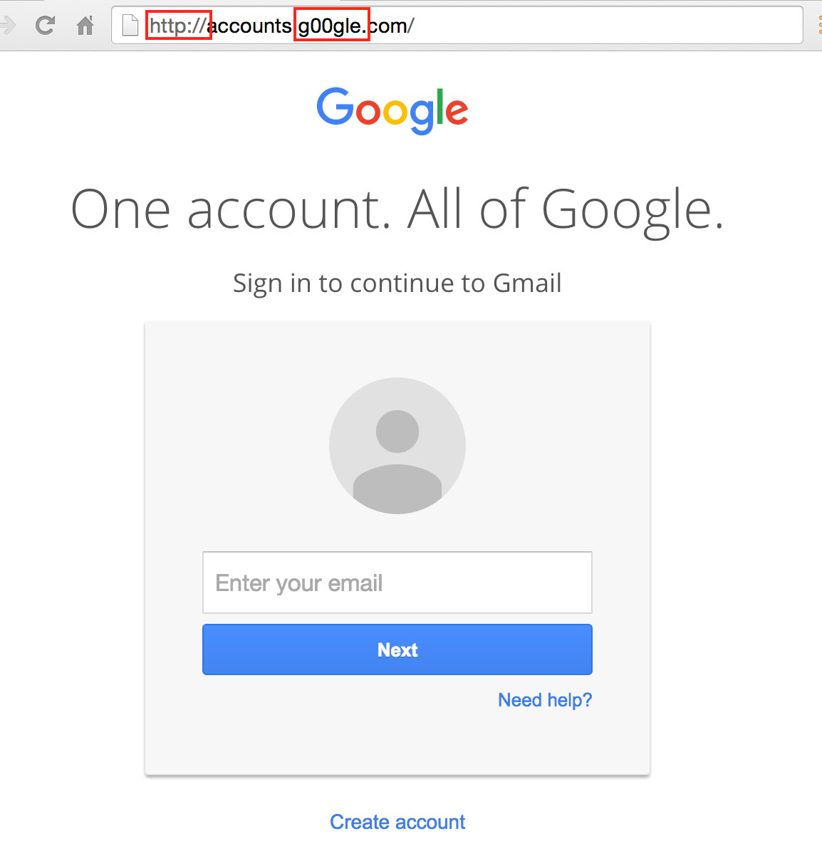 Changeling Google interface invites you to enter sensitive information - but having read the fake eye miss