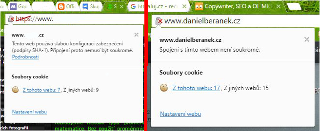 Left: The current designation weakly secure HTTPS - Right: The Future indication HTTP