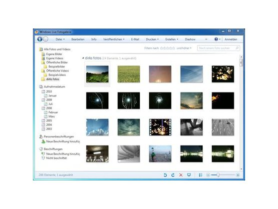 The user interface of Windows Live Photo Gallery.