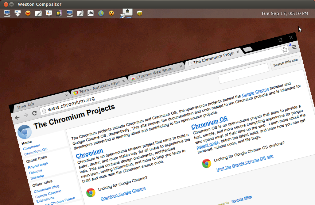 Chromium browser running composite server Weston (tilt - standard feature Wayland)