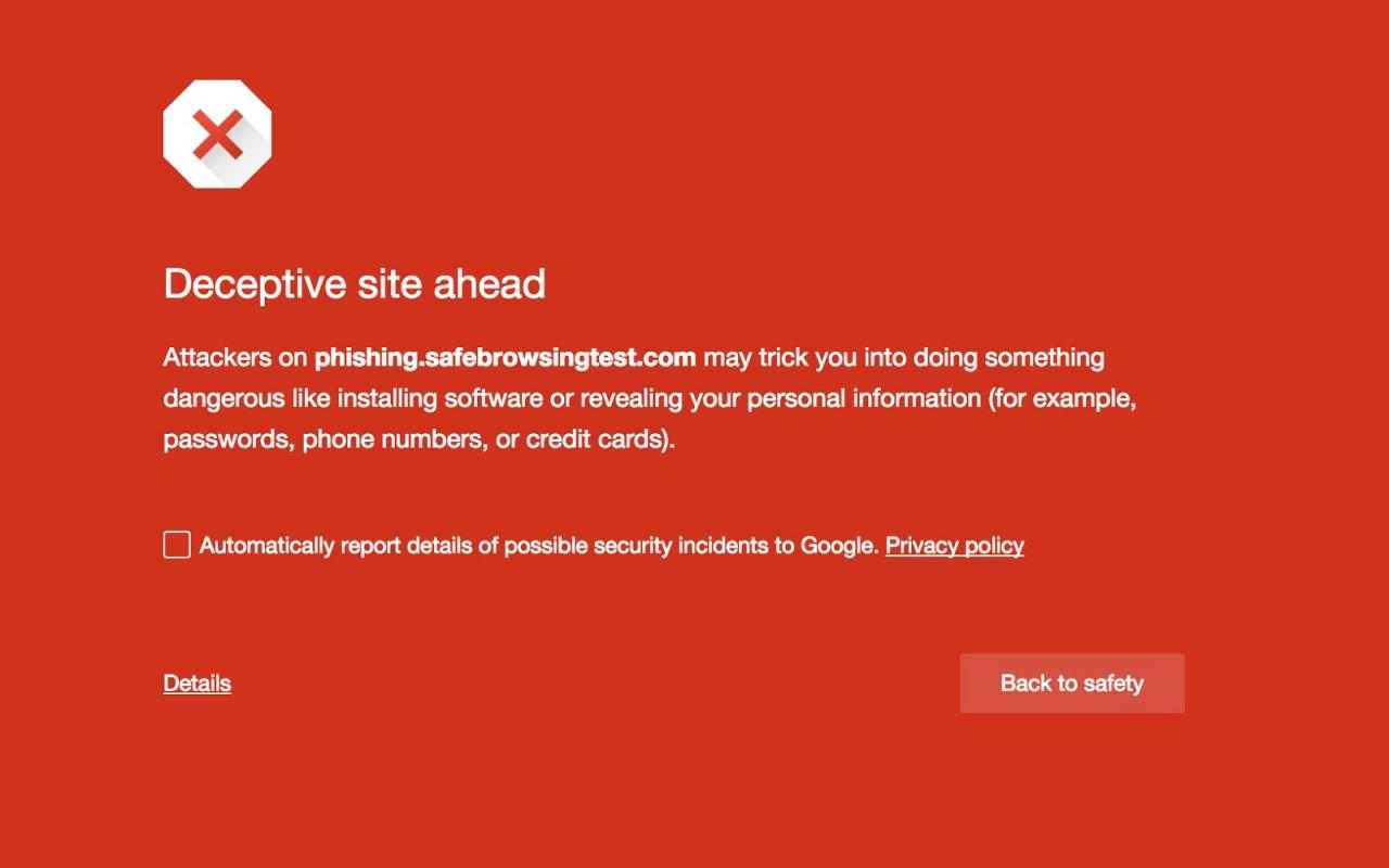 Before you is a phishing site - warns technology the Google Safe Browsing